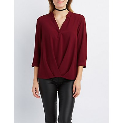 Mandarin Split Collar Pleated Blouse