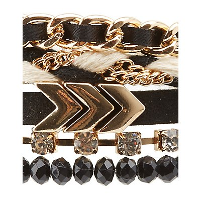 Beaded, Chainlink & Rhinestone Layering Bracelets - 5 Pack