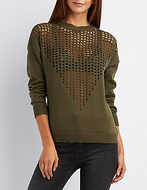 Perforated Pullover Sweater