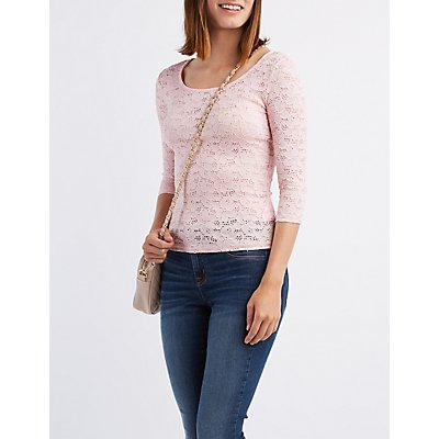Floral Lace Scoop Neck Top