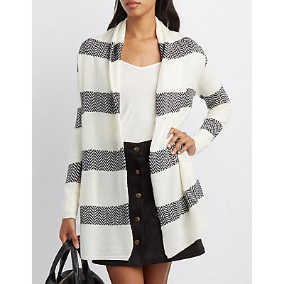 Striped Chevron Open Cardigan