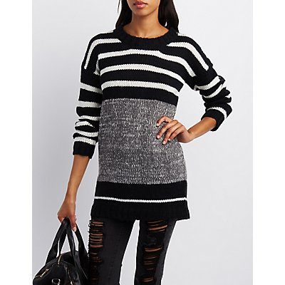 Marled & Striped Crew Neck Sweater