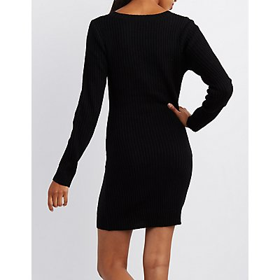 Ribbed Zipper-Pocket Sweater Dress