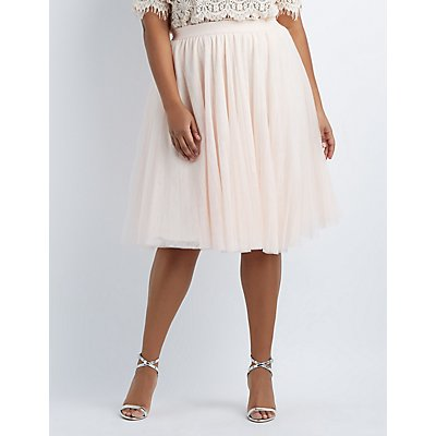 Plus Size Tulle Midi Skirt