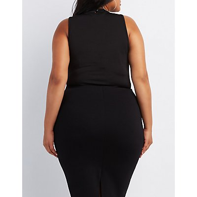 Plus Size Strappy Wrapped Neck Bodysuit