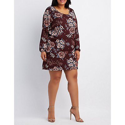 Plus Size Floral Strappy Shift Dress