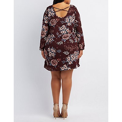 Plus Size Floral Strappy Shift Dress