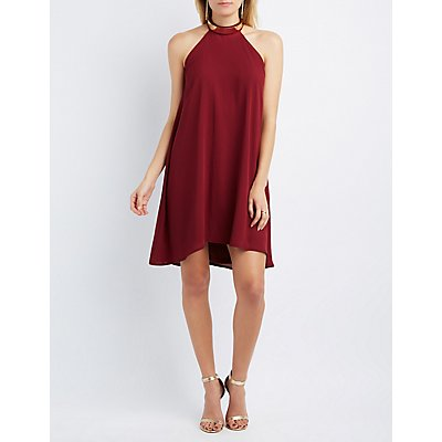 Metal Mock Neck Shift Dress