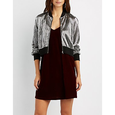 Metallic Micro Pleated Bomber Jacket