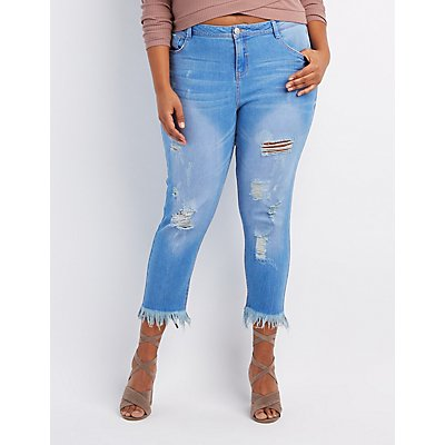 Plus Size Frayed Hem Destroyed Skinny Jeans | Charlotte Russe