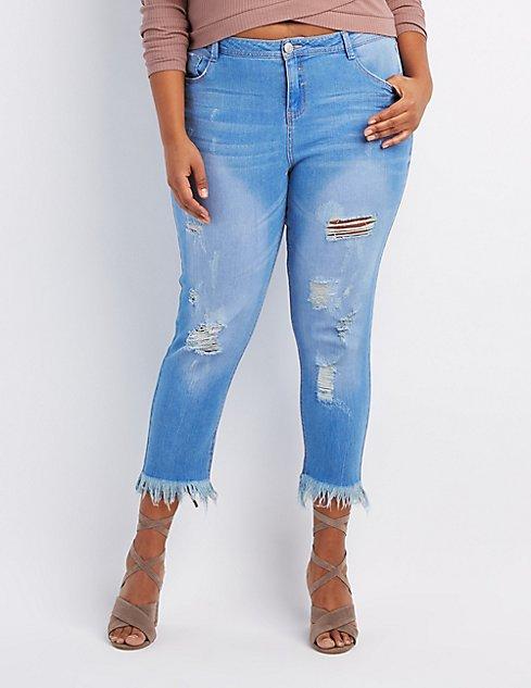 Plus Size Frayed Hem Destroyed Skinny Jeans   Charlotte Russe