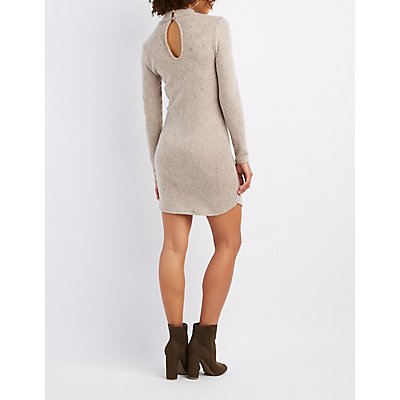 Marled Mock Neck Sweater Dress