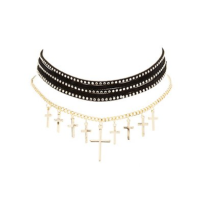 Studded & Cross Chain Choker Necklaces - 2 Pack