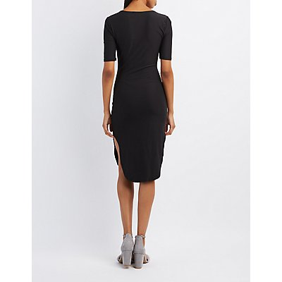 Scoop Neck Curved Hem Dress