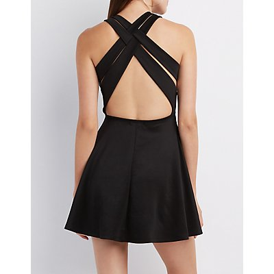 Lattice-Back Skater Dress