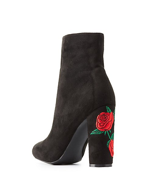 Rose embroidered ankle boots charlotte russe