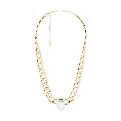 Plus Size Chainlink Crystal Choker Necklace