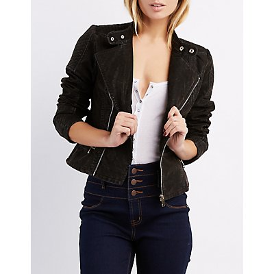 Quilted Faux Suede Moto Jacket