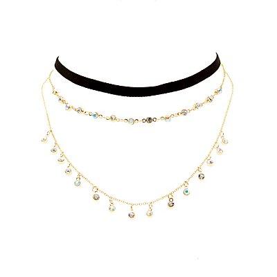 Velvet Choker & Layered Necklace - 2 Pack