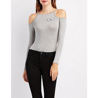 """""""Slay"""" Cold Shoulder Bodysuit"""