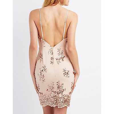 Sequin Surplice Bodycon Dress
