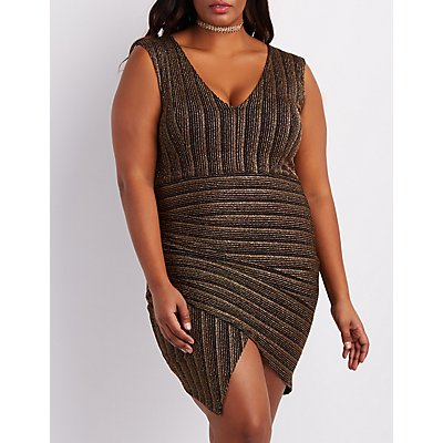 Plus Size Shimmer Striped Asymmetrical Dress
