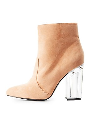 Qupid Lucite Heel Dress Booties