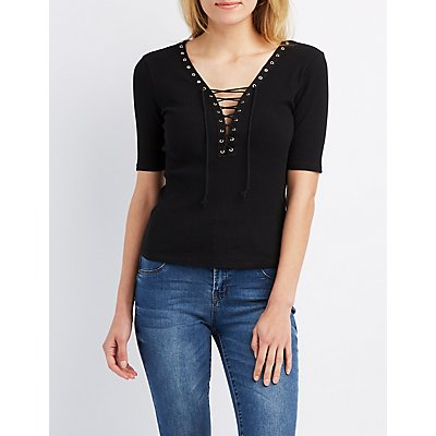 Ribbed Lace-Up Fitted Tee