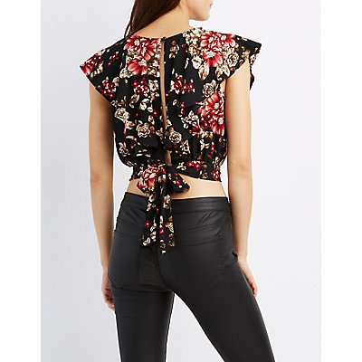 Floral Ruffle Lattice Crop Top