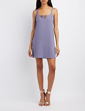 Layered Lace-Trim Slip Dress