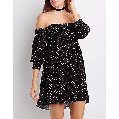 Polka Dot Smocked Off-The-Shoulder Dress