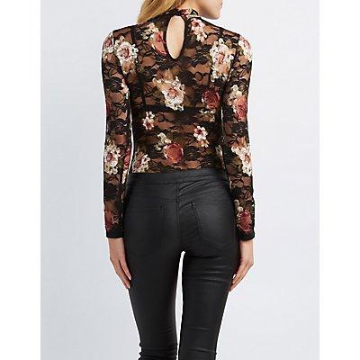 Floral Lace Mock Neck Bodysuit