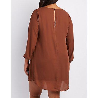 Plus Size Lattice Shift Dress