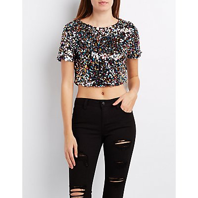 Sequin Boxy Crop Top