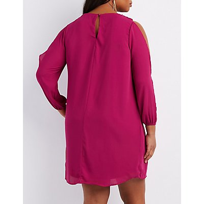 Plus Size Lattice Split Sleeve Shift Dress