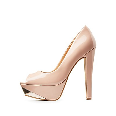 Gold-Tipped Peep Toe Platform Pumps