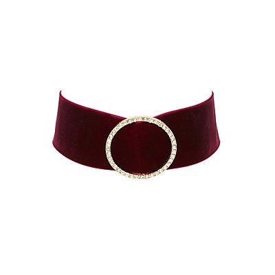 Velvet Circle Embellished Choker Necklace