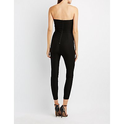 Notched Strapless Jumpsuit
