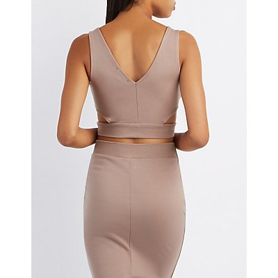 Surplice Cut-Out Crop Top