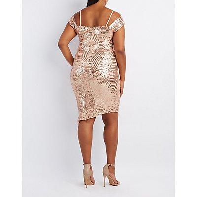 Plus Size Sequin Cold Shoulder Wrap Dress