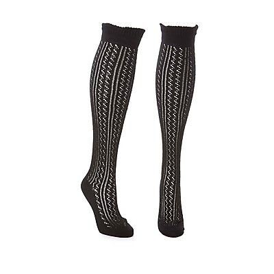 Wide Width Pointelle Over-The-Knee Socks