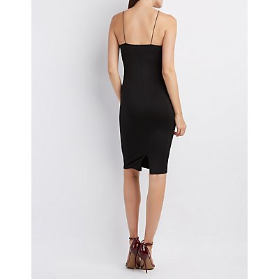 Embroidered Bib Neck Bodycon Dress