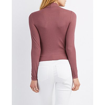 Ribbed Mock Neck Skimmer Top