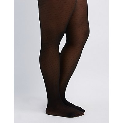 Plus Size Sheer Polka Dot Tights