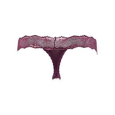 Lace-Trim Thong Panties