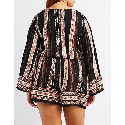 Plus Size Printed Surplice Romper
