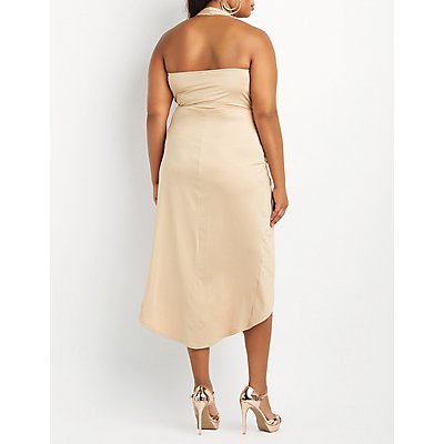 Plus Size Halter Knotted Maxi Dress