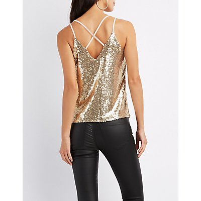 Sequin Strappy Tank Top