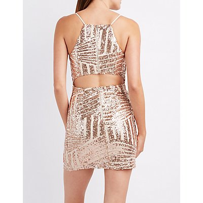 Sequin Bib Neck Bodycon Dress
