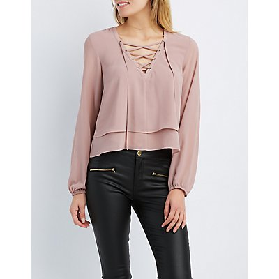 Lace-Up Tiered Blouse